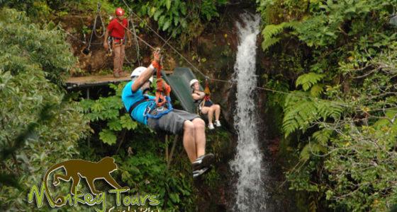 zip line tour waterfall