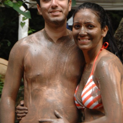 couple mud bath and hot springs