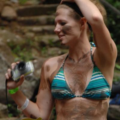 girl mud bath and hot spring