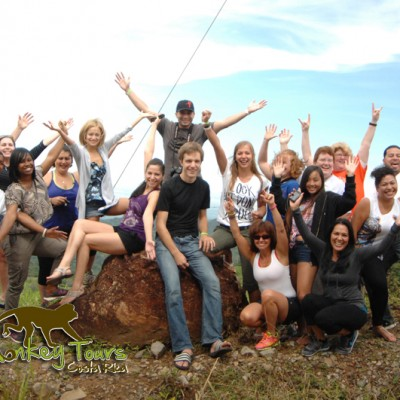 Funny group picture with the best landscape