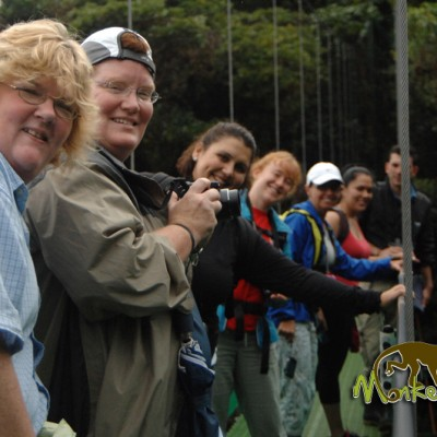 Posing for a picture in the hanging bridges with friends