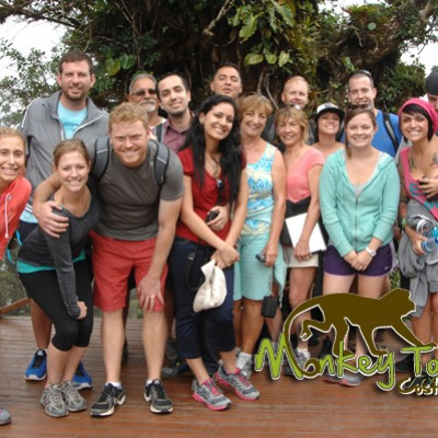 Amazing tour group posing for a picture in Monteverde