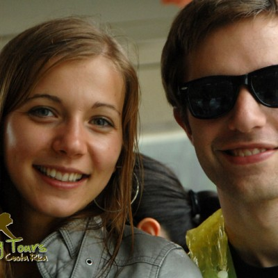 Young couple enjoying the adventure in CR Monkey Tours