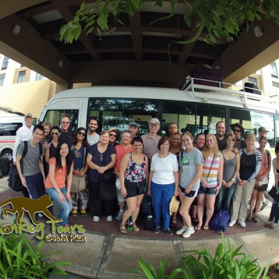 Tour groups ready for departure