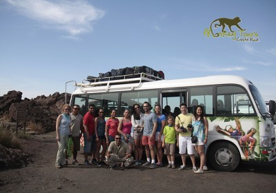 Monkey Tours big van with a tour group