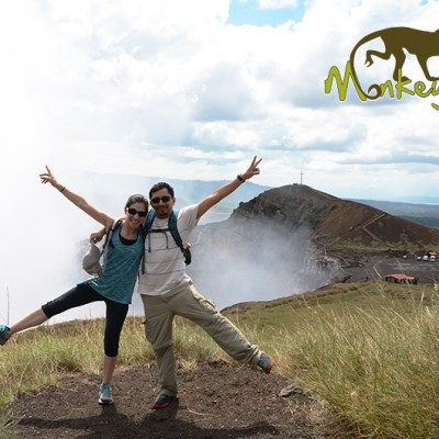 Couple having fun at The Masaya Volcano National Park in Nicaragua