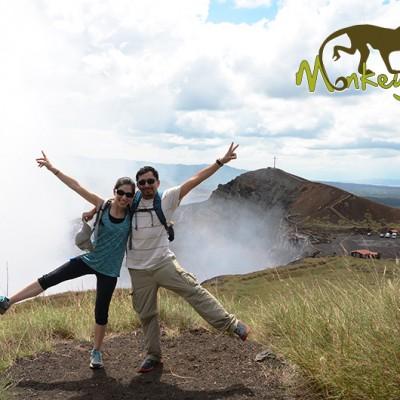 Couple having fun at The Masaya Volcano National Park in Nicaragua