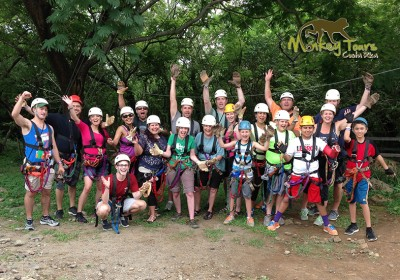 Fun group having an amazing time ziplining in one of our tours in Rincon de la Vieja Costa Rica