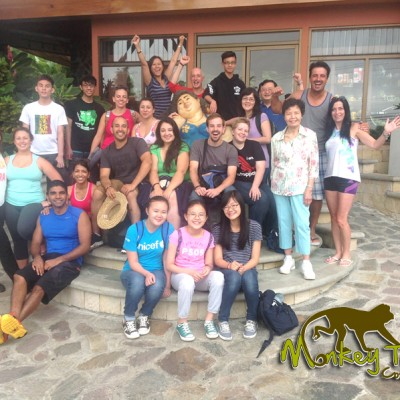Guided group picture at hotel in Arenal