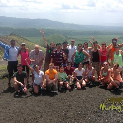 Tour group adventure at Nicaragua volcano view point