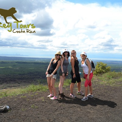 Friends on the Costa Rica Nicaragua Adventure Tour looking at a beautiful view of Nicaragua