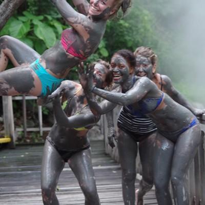 Costa Rica trip with friends enjoying mud baths