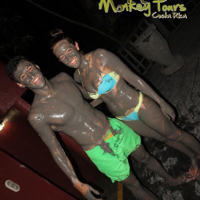 Fun mud bath therapy at night in Rincon de la Vieja Guanacaste