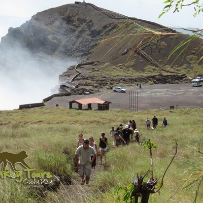 Guided group hike at The Masaya Volcano National Park in Nicaragua