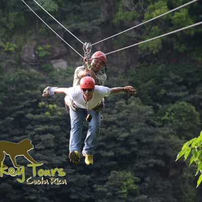 Having fun ziplining through the jungle of Costa Rica