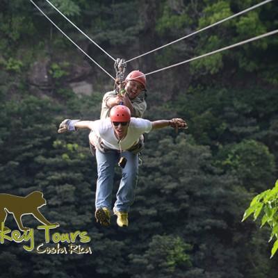 Having fun ziplining through the jungle of Costa Rica