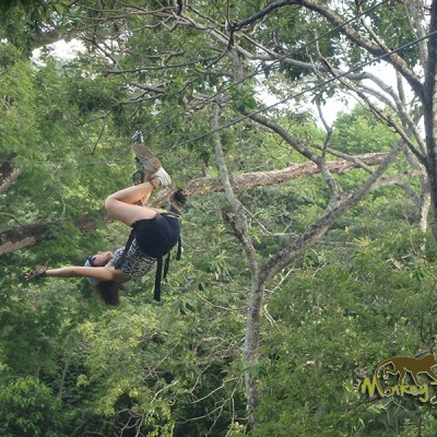 Ziplining tour upside down like a spider in Costa Rica jungle