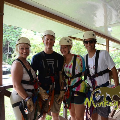 Guided tour group canopy zipline