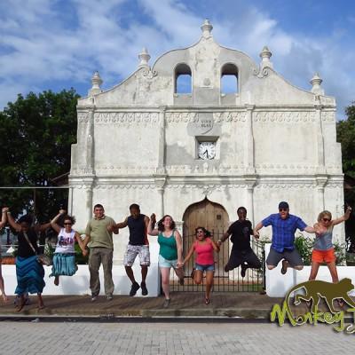 tour group jumping Nicoya church Costa Rica