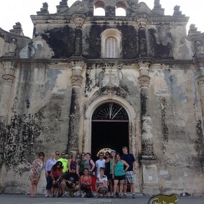 Tour group old church Nicaragua