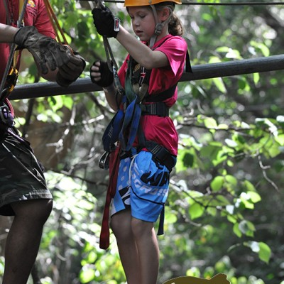 Little girl zip lining guided tour jungle Costa Rica Tour 116