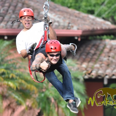 tourist and guide zip lining Costa Rica & Nicaragua Tour 60